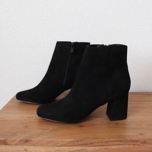 Faux-suede square toe Chelsea boots